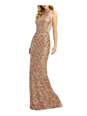 Mac Duggal mock neck sequin column gown