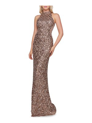 Mac Duggal Scallop Sequin High-Neck Sleeveless Column Gown