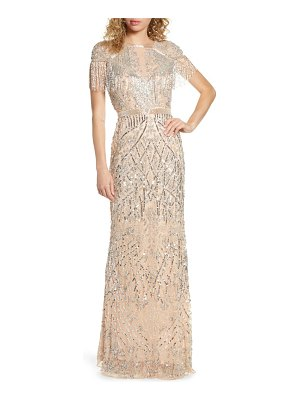Mac Duggal sequin fringe detail gown