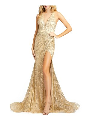 Mac Duggal sequin halter neck crossback gown