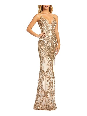 Mac Duggal Sequin Leaf Plunging Sheath Gown