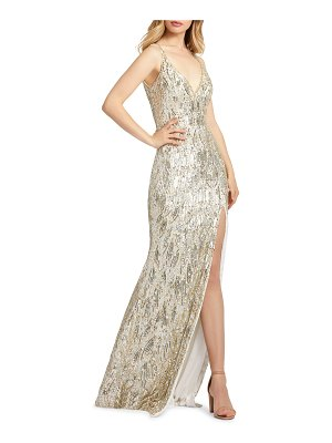 Mac Duggal 6-Week Shipping Lead Time Sequin Sheath Gown with Thigh Slit