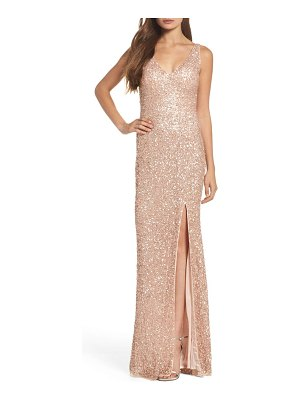 Mac Duggal sequin slit gown