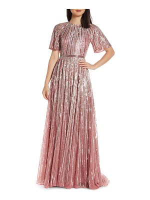 Mac Duggal sequin stripe gown