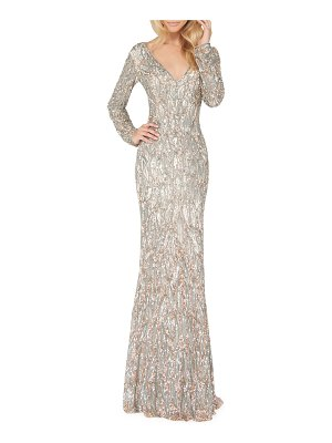 Mac Duggal Sequin V-Neck Long-Sleeve Column Gown