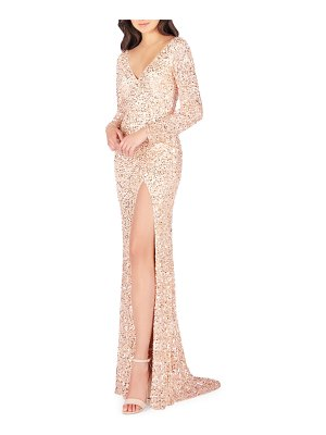 Mac Duggal Sequin V-Neck Long-Sleeve High-Slit Gown