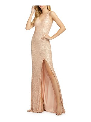 Mac Duggal Sequined V-Neck Sleeveless Gown with High Slit