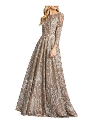 Mac Duggal 6-Week Shipping Lead Time Sequins & Floral Lace Long-Sleeve Novelty Ball Gown