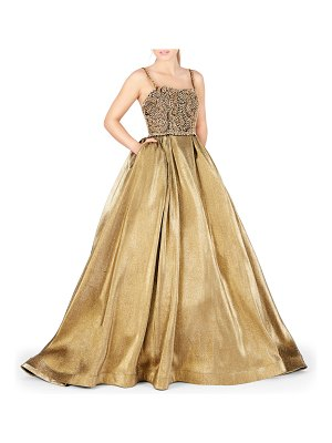 Mac Duggal Sleeveless Metallic Ball Gown with Bejeweled Bodice