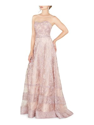 Mac Duggal Stone Embellished Strapless A-Line Gown