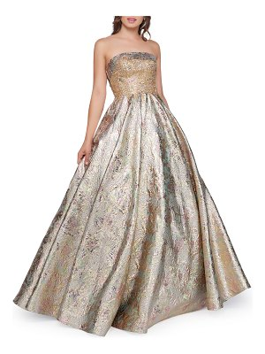 Mac Duggal Strapless Metallic Brocade Ball Gown