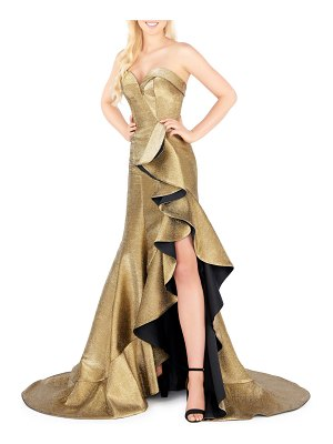 Mac Duggal Strapless Metallic Cascading Gown