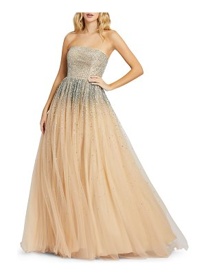Mac Duggal Strapless Sequin Embellished Ombre Tulle Ball Gown