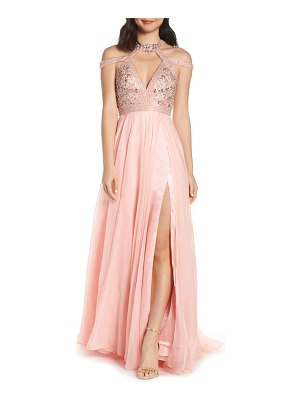 Mac Duggal strappy beaded bodice chiffon evening dress
