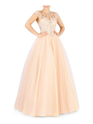 Mac Duggal Sweetheart Illusion Cap-Sleeve Pastel Tulle Ball Gown with Beaded Bodice