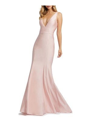 Mac Duggal 6-Week Shipping Lead Time V-Neck Corset-Back Jersey Mermaid Gown