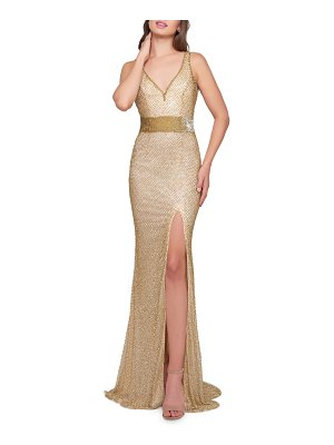 Mac Duggal V-Neck Sleeveless Beaded Gown w/ Thigh Slit