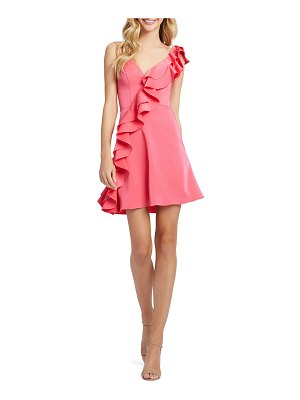 Mac Duggal V-Neck Sleeveless Short Ruffle Dress