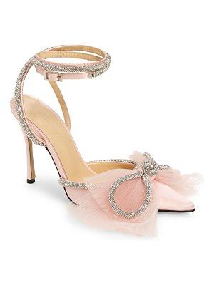 Mach & Mach double crystal & tulle bow satin pump