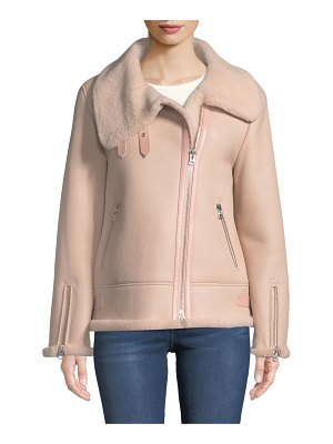 Mackage Zip-Up Sheepskin Fur Moto Jacket