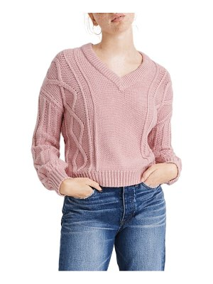 Madewell augustus cable knit v-neck sweater