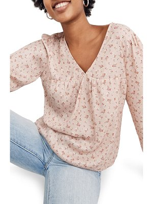 Madewell baby's breath satin puff-sleeve v-neck top