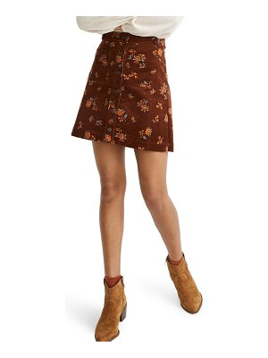 Madewell forest floral corduroy a-line miniskirt