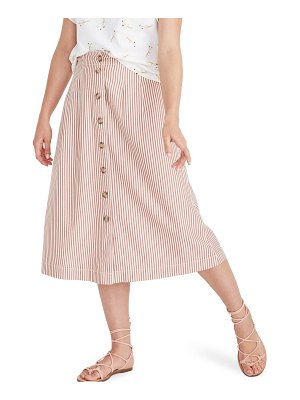 Madewell patio clay stripe button front midi skirt