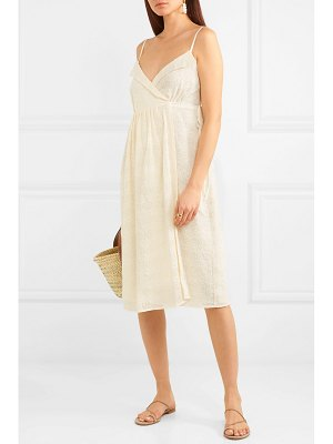 Madewell pleated embroidered voile wrap dress