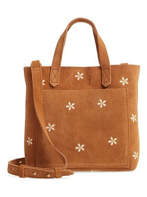 Madewell the small transport crossbody daisy embroidered suede edition