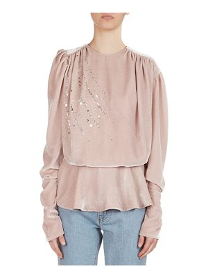 Magda Butrym Asuncion Sequined & Strass Velvet Peplum Top