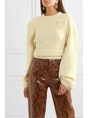 Magda Butrym braid city embellished cable-knit wool and cashmere-blend sweater