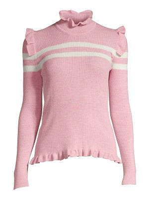 Maggie Marilyn far far away striped ruffled fine merino wool sweater