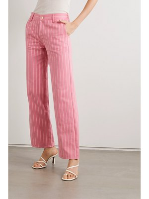 Maggie Marilyn net sustain powerful in pink pinstriped organic-cotton twill wide-leg pants