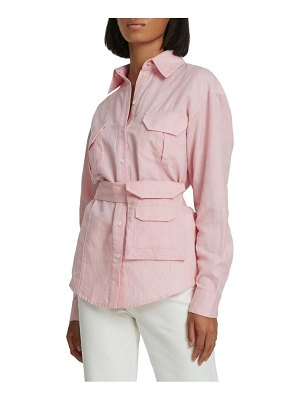 Maggie Marilyn stronger together belted button-down shirt