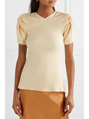 Maggie Marilyn net sustain sweet like honey knotted cutout ribbed stretch cotton-jersey top