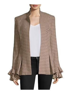 Maggie Marilyn wool-blend checked ruffle jacket