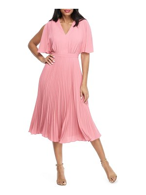 Maggy London split sleeve pleated midi dress