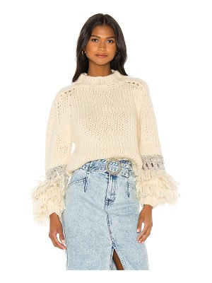 Maiami short sweater with fringe balloon sleeve