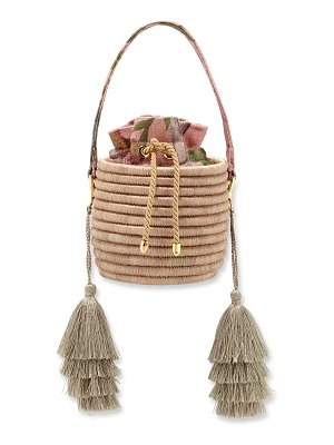 Maison Alma Monochrome Woven Straw Bucket Bag with Metallic Tassels