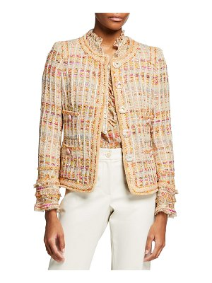 Maison Common Fringe-Cuff Tweed Jacket