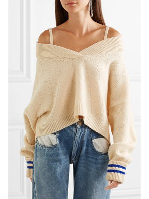 MAISON MARGIELA cold-shoulder wool-blend sweater