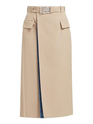 MAISON MARGIELA double layer check lined beige skirt