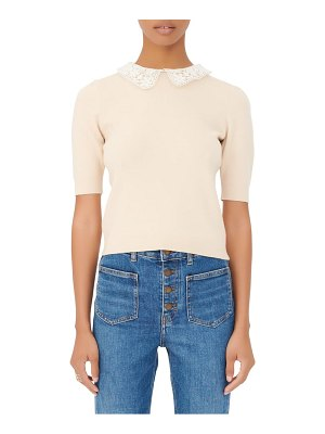 Maje embroidered peter pan collar wool blend sweater