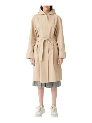 Maje gisele hooded cotton trench coat