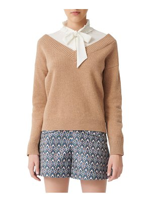 Maje mirelle layered shirt & wool blend sweater pullover