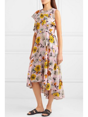 Maje one-shoulder floral-print crepe midi dress