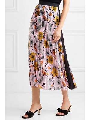 Maje pleated floral-print crepe de chine midi skirt