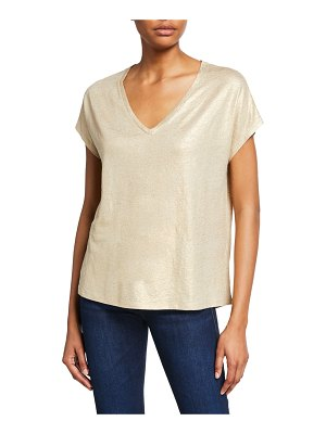 Majestic Paris for Neiman Marcus Metallic V-Neck Short-Sleeve Tee