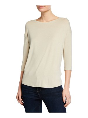 Majestic Paris for Neiman Marcus Soft-Touch Metallic Long-Sleeve Boat-Neck Top